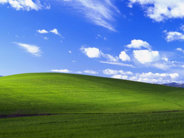 'Bliss', standaard achtergrond ('wallpaper') in Windows XP. Fotograaf: Charles O'Rear